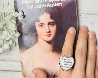 Elizabeth Bennet and Mr Darcy Pride and Prejudice Heart Shaped Adjustable Book Page Ring