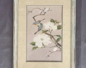 Vintage Leroy E. Print Birds blossoms 1986 Crowning touch collections Hand-painted Distressed frame