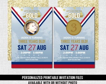 OLYMPICS BIRTHDAY INVITATION (printable files) Gold Medal Sports Party - Any Age w/ Photo Print Your Own Invites, Gymnastics