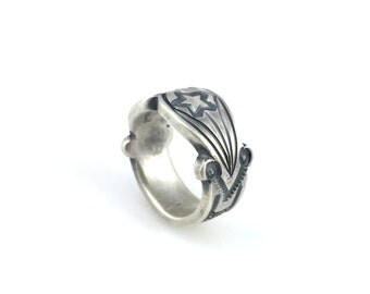 Heavy Silver Ingot Ring Stamped Design