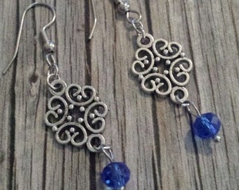 Blue Crystal Earrings, Blue Crystal Filigree Earrings, Crystal Earrings, Royal Blue Dangle Earrings, Crystal Dangle Earrings, Blue Earrings