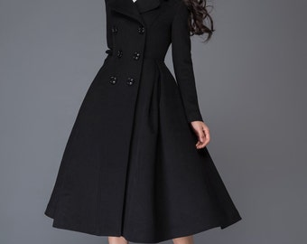 Winter wool coat/ black women's coat/suit collar/ warm coat  C1019