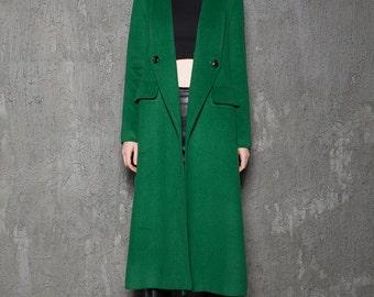 Green Wool Coat , Emerald green coat, long maxi coat , women's coat, Winter Coat  C715