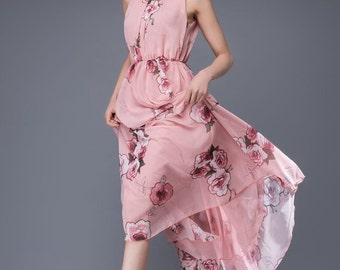Romantic Chiffon Dress - Floral Pink Roses Sleeveless Floaty Women's Summer Party Dress Long Length Fully Lined C875