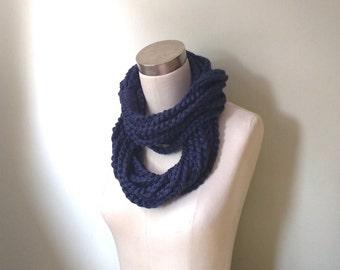 Navy Scarf Necklace . Long . Navy Blue Scarf . Navy Chain Scarf . Chain Infinity Scarf . Long Scarf . Knit Necklace . Crochet Scarf