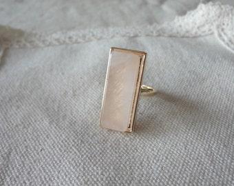 pink quartz ring,Rectangular powder crystal Mosaic ring,Geometry of the ring