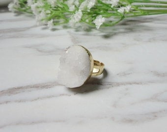 White Agate Druzy Drusy Golden Mineral Ring Raw Gemstone Rough Statement Adjustable Ring