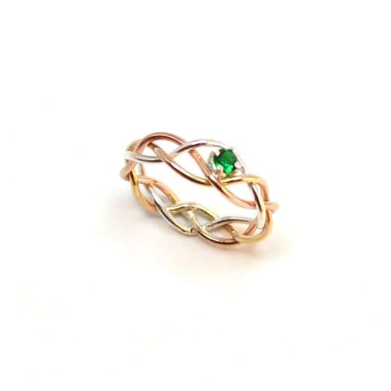 Emerald Braided Ring - Gold, Pink Gold, Silver - Your choice of Amethyst, White Topaz, Aquamarine, Garnet, Sapphire, Emerald, Golden Topaz