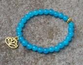Blue Beaded Bracelet, Lotus Charm Bracelet, Blue Lotus Bracelet, Blue Quartz Bracelet for Teen Girl, Bohemian Gift, Boho Beaded Bracelet