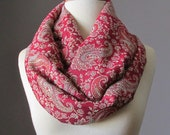 Delicate paisley  Infinity Scarf , Red scarf, Pashmina scarf, Christmas scarf