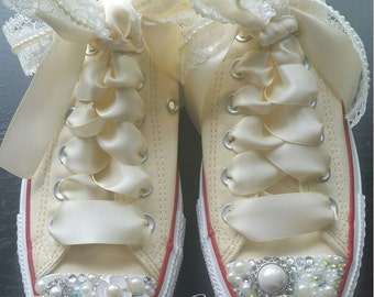 Custom Bride Converse Wedding Shoes - Pearl and Crystals - Pearls and Lace - Pearl Shoes - Swarovski Crystals