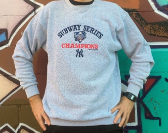 Vintage New York YANKEES vs Mets SUBWAY SERIES World Champions Triblend Sweat Shirt Grey Inside Out Gear Style
