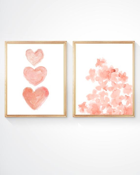 Nursery Gallery Wall Prints with Coral Hearts and Flowers, Set of 2- 8x10