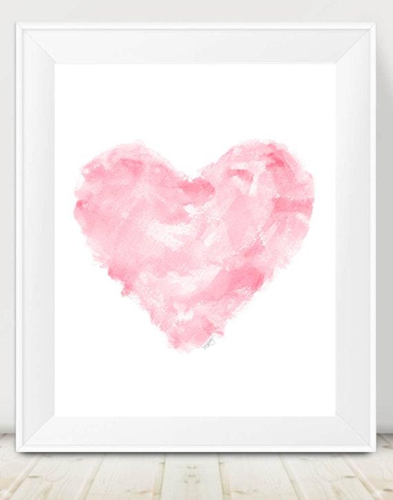 Modern Pink Nursery Art, 11x14 Contemporary Heart