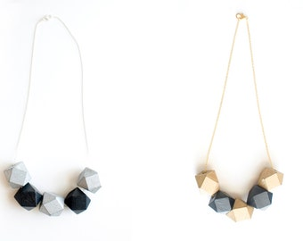 Wooden Bead Necklace Metallic Geometric Style Jewelry // Silver or Gold