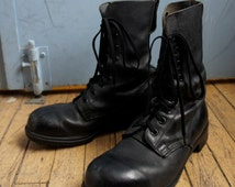 STOMPERS Men's Sturdy Black Leather Combat Boots with Grip Rubber Treads & Reinforced Toe, Size 13 US