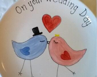 Love birds design wedding plate