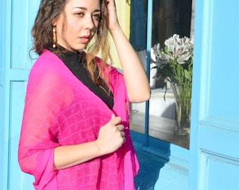Pink Silk Shawl, Elegant Sheer Silk Chiffon Scarf, Indian Sari Bandana Gypsy Hippie Boho Bohemian Chic Festival Bollywood Wedding Bridal