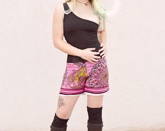 pink paisley shorts, cotton shorts, pink shorts, beach coverup, drawstring short, booty shorts, hippie gypsy boho bohemian chic festival