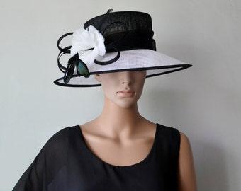 White black big brim sinamay hat Formal dress Hat church hat for Kentucky derby,wedding races Melburne cup