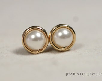 Gold White Pearl Stud Earrings Wire Wrapped Jewelry Handmade Gold Pearl Earrings Bridesmaids Earrings Bridesmaids Gifts Gold Earrings