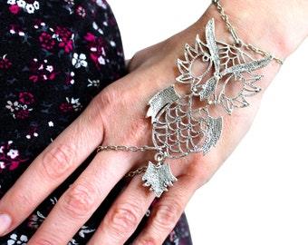 Jewelry, Bracelet, Charm Bracelet, Owl Bracelet, Finger bracelet, Silver Owl Jewelry, Statement jewelry, Chain bracelet, Halloween bracelet