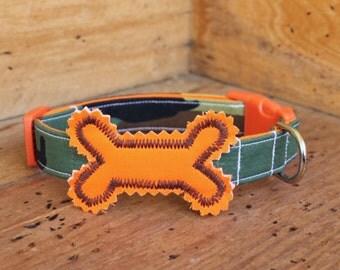 Camouflage Dog Collar - Camo Dog Collar with Hunter Orange Bone and Brown Stitching