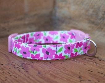 Pink Dog Collar - Pink Floral Dog Collar