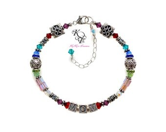 Grandma Bracelet, Personalized Bracelet, Mothers Bracelet, Birthstone Bracelet, Mom Gifts, Mothers Jewelry, Sterling Silver Bracelet