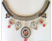 Icy candies - Bead embroidered half-collar necklace with crystals, bead embroidered