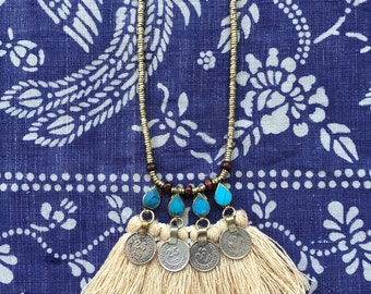 Indah long Necklace coin tassel necklace