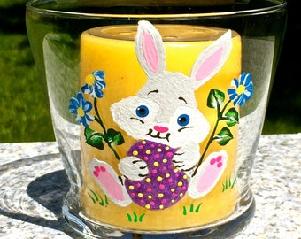 Easter candle holder etsy easter candle holder with hand painted easter bunny easter egg easter decoration candle negle Choice Image