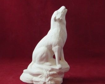 Ready to Paint Ceramic Howling Wolf - 8 3/4 inches - decor