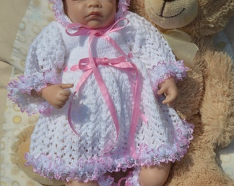 Newborn Baby Lace Dress, Bonnet and Booties will also fit a 18-20 inch Reborn Baby.Doll Ready to Ship