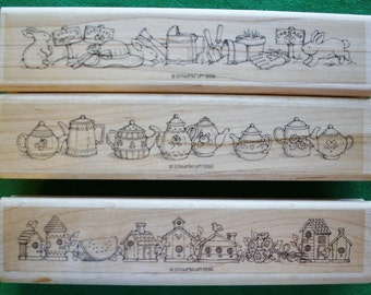 Horizontal Spring and Summer Scenes Set of 3 Rubber Stamps from Stampin Up 1996
