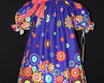 Purple peasant dress size 4 ready to ship MADE in the USA