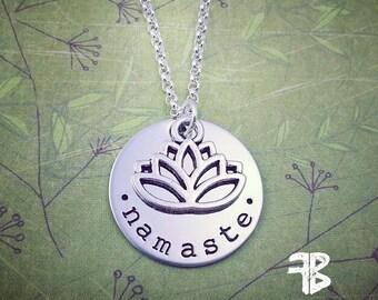 Silver Lotus Necklace, Namaste Necklace, Yoga Jewelry, Handstamped Yoga Necklace, Spiritual Jewelry, Meditation, Yogi Necklace, Lotus Flower