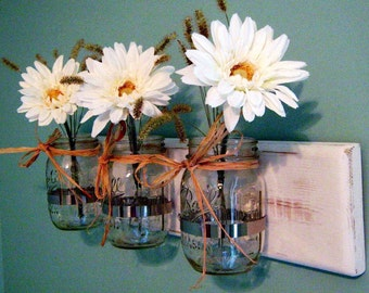 Rustic Mason Jar Wall Sconce Mason Jar Decor, Wall Sconce Rustic Decor Wooden Wall Sconce Rustic wall Decor mason Jar Home Decor Houseswares