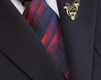 Siberian Husky family brooch - Gold