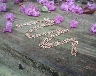 14kt Yellow Gold Italian Figaro Link Necklace A371