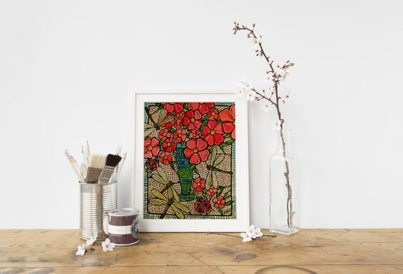"Red Flowers and Dragonfly Art Print, Home Decor, 8x10"" Kitchen Wall Art, Floral Red Bouquet with Mosaic and Dragonflies Illustration"