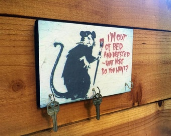 "BANKSY Key Holder ""Out of Bed and Dressed Rat"" Key Holder & Wood Mounted Wall. Art Graffiti Art."