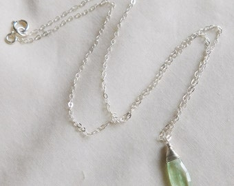 Green Kyanite Necklace , Gemstone Necklace , Green Silver Pendant Necklace