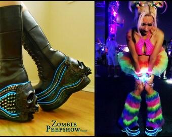 """Platform """"DEATH PROOF"""" Skull LED Boots"""