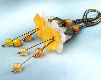 Daffodil Earrings, Floral Earrings, Lucite Flower Petals, Carnelian Semi Precious Stones, Golden Yellow, White, Antiqued Brass, Handmade