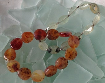 PRICED TO SELL Vintage Set of Two Genuine Faceted Moss and Orange Agate Coin Bead Stretch Bracelets Etsy andersonhs