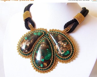 15% SALE Statement Beadwork Bead Embroidery Pendant Necklace with malachite and bronzite - BRONZE GARDENS - amber, green and black
