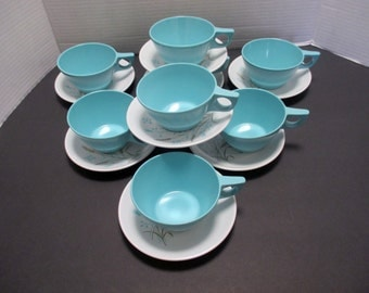 Melmac Mallo Ware Melamine Atomic 4 Cups and Saucers - Robins Egg Blue with Gold