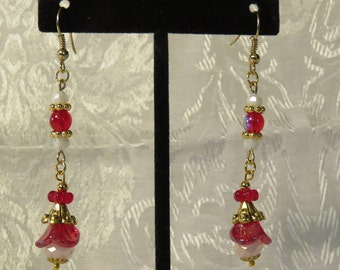 Red And White AB Glass Flower Earrings - Red AB Glass Beads/White Glass Beads
