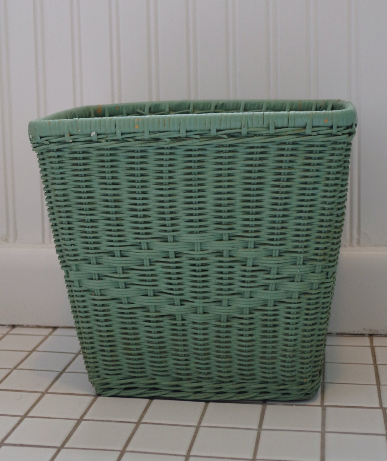 Vintage mint green wicker waste basket trash can - Wicker trash basket ...